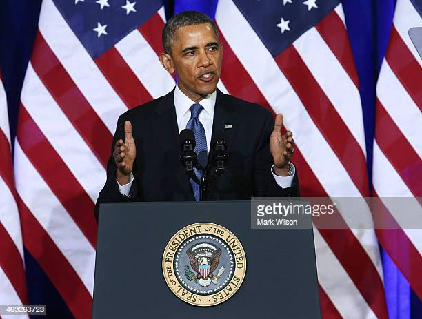 S President Barack Obama speaks about the National Security Agency at the Justice Department on January 17 2014 in Washington DC President Obama...