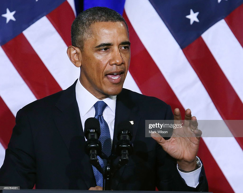 U.S. President <a gi-track='captionPersonalityLinkClicked' href=/galleries/search?phrase=Barack+Obama&family=editorial&specificpeople=203260 ng-click='$event.stopPropagation()'>Barack Obama</a> speaks about the National Security Agency (NSA) at the Justice Department, on January 17, 2014 in Washington, DC. President Obama outlined new changes to the agency's most controversial surveillance practices.