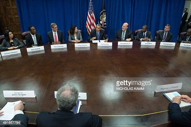 US President Barack Obama speaks about the TransPacific Partnership agreement at the Agriculture Department in Washington DC on October 6 2015 AFP...