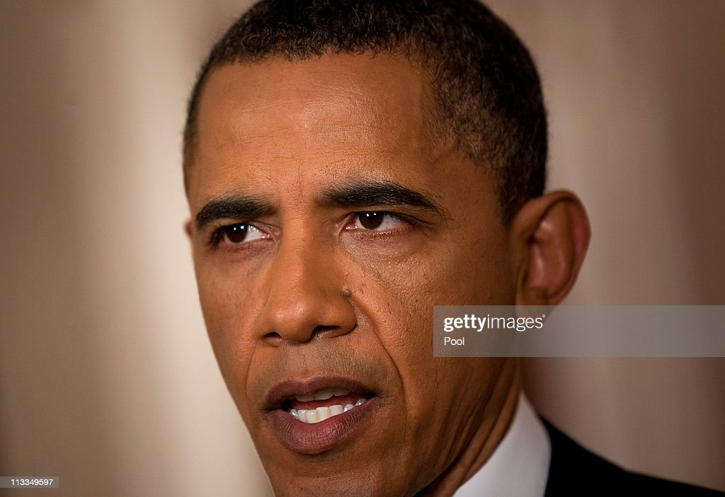 U.S. President <a gi-track='captionPersonalityLinkClicked' href=/galleries/search?phrase=Barack+Obama&family=editorial&specificpeople=203260 ng-click='$event.stopPropagation()'>Barack Obama</a> speaks after addressing the nation on TV from the East Room of the White House to make a televised statement May 1, 2011 in Washington, DC. Bin Laden has been killed near Islamabad, Pakistan almost a decade after the terrorist attacks of Sept. 11, 2001 and his body is in possession of the United States.