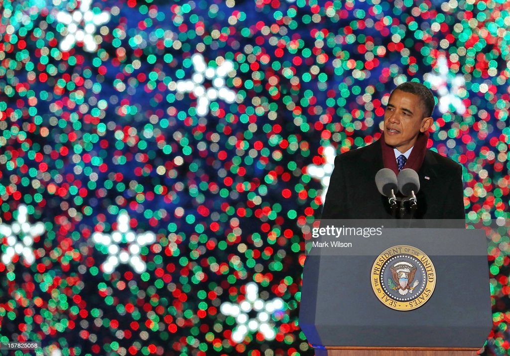 U.S. President <a gi-track='captionPersonalityLinkClicked' href=/galleries/search?phrase=Barack+Obama&family=editorial&specificpeople=203260 ng-click='$event.stopPropagation()'>Barack Obama</a> speaks after lighting of the National Christmas tree on December 6, 2012 in Washington, D.C. This year is the 90th annual National Christmas Tree Lighting Ceremony.