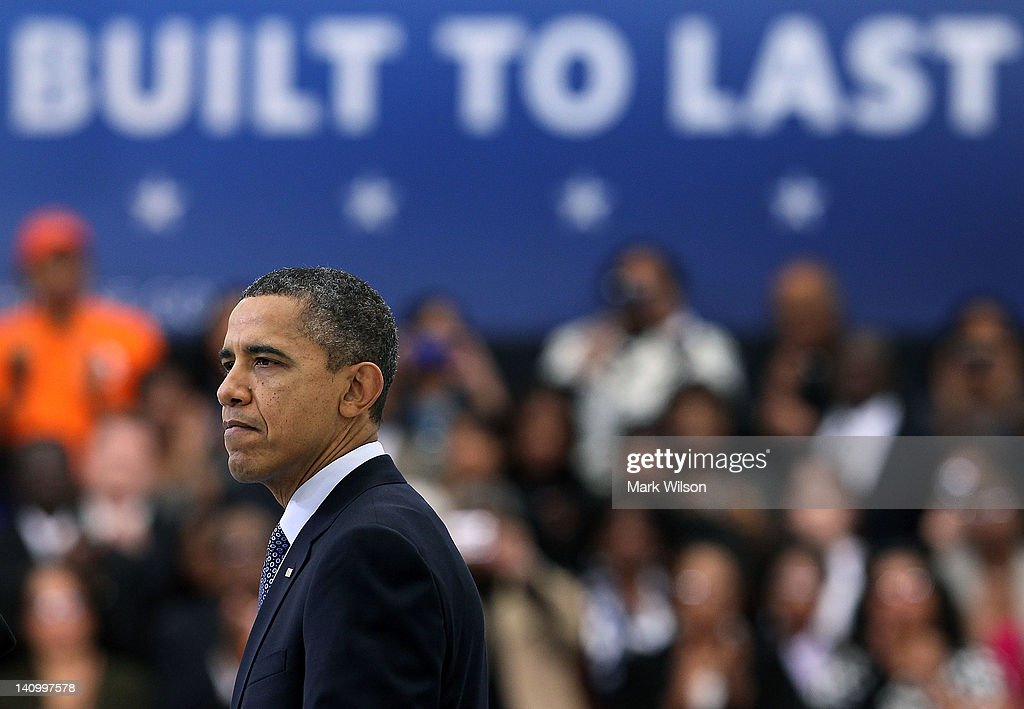 U.S. President <a gi-track='captionPersonalityLinkClicked' href=/galleries/search?phrase=Barack+Obama&family=editorial&specificpeople=203260 ng-click='$event.stopPropagation()'>Barack Obama</a> speaks after touring the Rolls-Royce Crosspointe plant, on March 9, 2012 in Prince George County, Virginia. President Obama talked about jobs and today's Labor Department report showing employers added more jobs than last month.