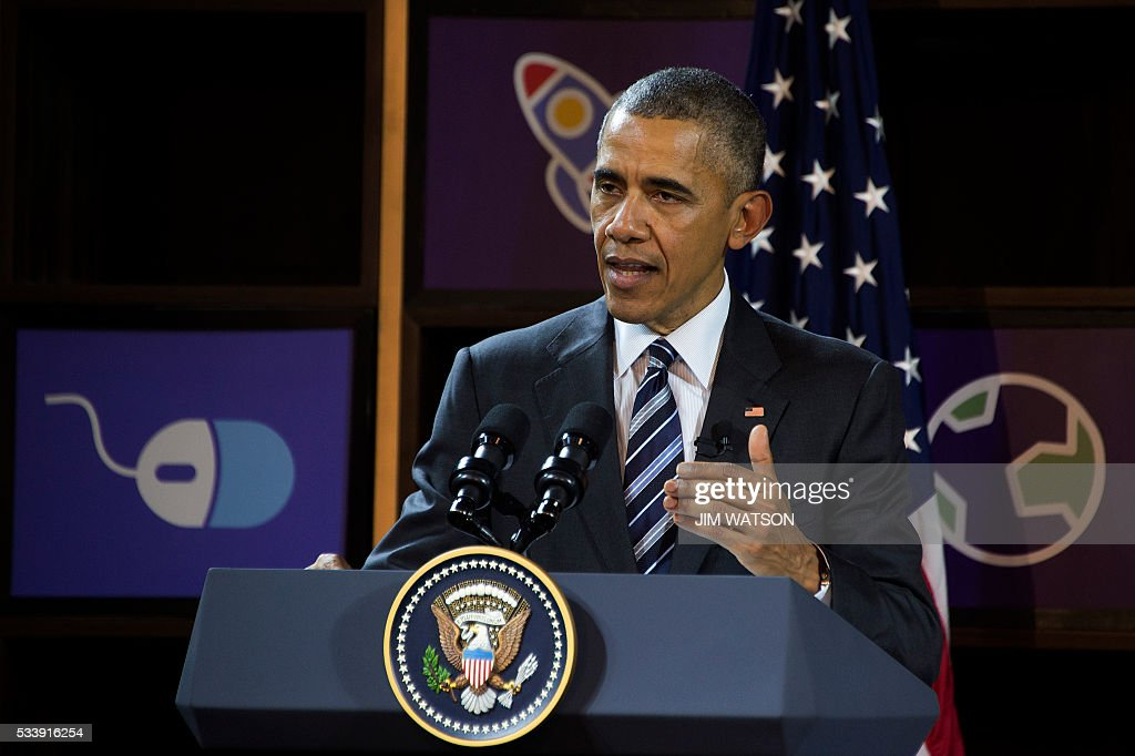 US President Barack Obama speaks after touring through the entrepreneur demonstrations at DreamPlex in Ho Chi Minh City on May 24, 2016. Obama told communist Vietnam on May 24 that basic human rights would not jeopardise its stability, in an impassioned appeal for the one-party state to abandon authoritarianism. / AFP / JIM