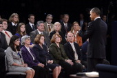S President Barack Obama speaks as audience members listen during a town hall style debate at Hofstra University October 16 2012 in Hempstead New...