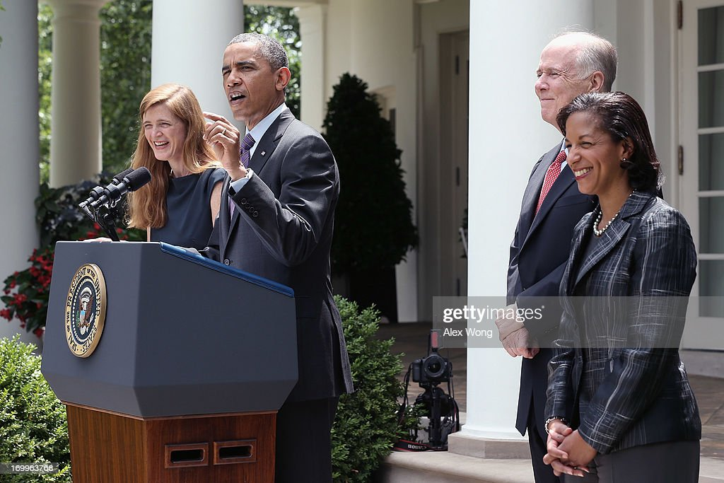 U.S. President <a gi-track='captionPersonalityLinkClicked' href=/galleries/search?phrase=Barack+Obama&family=editorial&specificpeople=203260 ng-click='$event.stopPropagation()'>Barack Obama</a> speaks as former aide Samantha Power (L), U.S. Ambassador to the United Nations <a gi-track='captionPersonalityLinkClicked' href=/galleries/search?phrase=Susan+Rice&family=editorial&specificpeople=5458775 ng-click='$event.stopPropagation()'>Susan Rice</a> (R) and incumbent National Security Adviser Tom Donilon (2L) listen during a personnel announcement at the Rose Garden of the White House June 5, 2013 in Washington, DC. President Obama has nominated Rice to succeed Donilon to become the next National Security Adviser. Obama has also nominated Power to succeed Rice for her position to the UN.