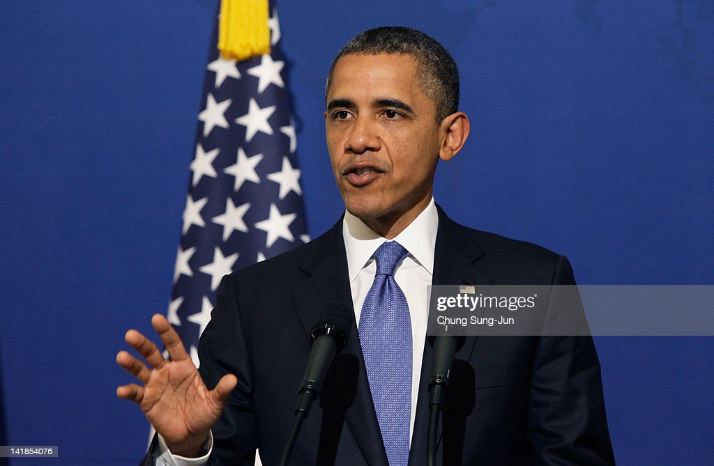 U.S. President <a gi-track='captionPersonalityLinkClicked' href=/galleries/search?phrase=Barack+Obama&family=editorial&specificpeople=203260 ng-click='$event.stopPropagation()'>Barack Obama</a> speaks as he attends a joint press conference with South Korean President Lee Myung-Bak at the presidential house on March 25, 2012 in Seoul, South Korea. World leaders are gathering in Seoul to discuss the threat of nuclear terrorism, the recurrence nuclear power plant meltdown and to minimize nuclear material across the world.
