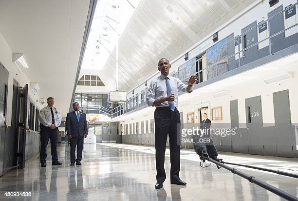 US President Barack Obama speaks as he tours the El Reno Federal Correctional Institution in El Reno Oklahoma July 16 2015 Obama is the first sitting...
