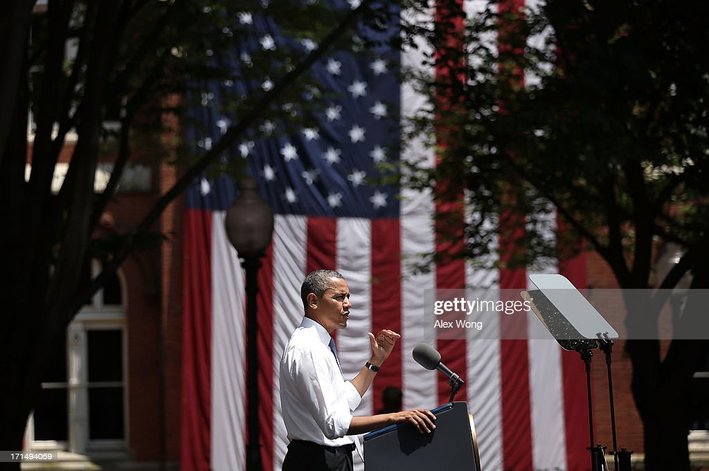 U.S. President <a gi-track='captionPersonalityLinkClicked' href=/galleries/search?phrase=Barack+Obama&family=editorial&specificpeople=203260 ng-click='$event.stopPropagation()'>Barack Obama</a> speaks as he unveils his plan on climate change June 25, 2013 at Georgetown University in Washington, DC. President Obama laid out his plan to diminish carbon pollution and prepare the country for the impacts of climate change.