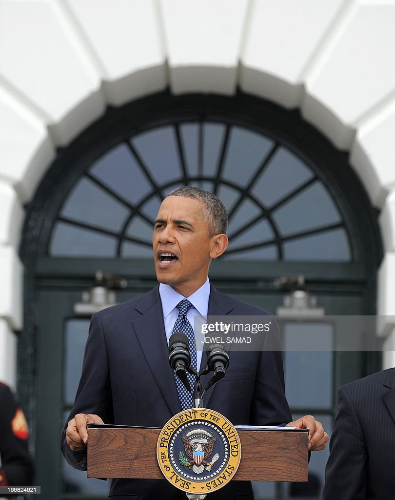 US President <a gi-track='captionPersonalityLinkClicked' href=/galleries/search?phrase=Barack+Obama&family=editorial&specificpeople=203260 ng-click='$event.stopPropagation()'>Barack Obama</a> speaks as he welcomes Wounded Warrior Project's Soldier Ride at the White House in Washington, DC, on April 17, 2013. The Soldier Ride is a four-day cycling event for wounded veterans to overcome physical, mental, or emotional wounds. AFP PHOTO/Jewel Samad