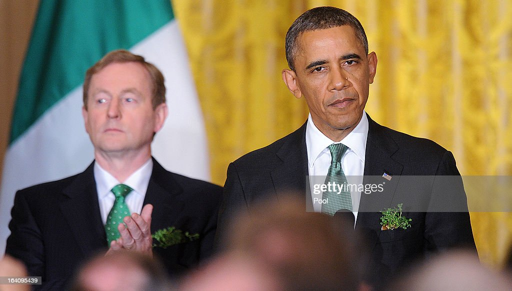 U.S. President <a gi-track='captionPersonalityLinkClicked' href=/galleries/search?phrase=Barack+Obama&family=editorial&specificpeople=203260 ng-click='$event.stopPropagation()'>Barack Obama</a> (R) speaks as Irish Prime Minister <a gi-track='captionPersonalityLinkClicked' href=/galleries/search?phrase=Enda+Kenny&family=editorial&specificpeople=5129605 ng-click='$event.stopPropagation()'>Enda Kenny</a> looks on during a reception in the East Room of the White House on March 19, 2013 in Washington, DC. President Obama met with Irish Prime Minister <a gi-track='captionPersonalityLinkClicked' href=/galleries/search?phrase=Enda+Kenny&family=editorial&specificpeople=5129605 ng-click='$event.stopPropagation()'>Enda Kenny</a> prior to the annual St. Patrick's Day lunch hosted at the Capitol.
