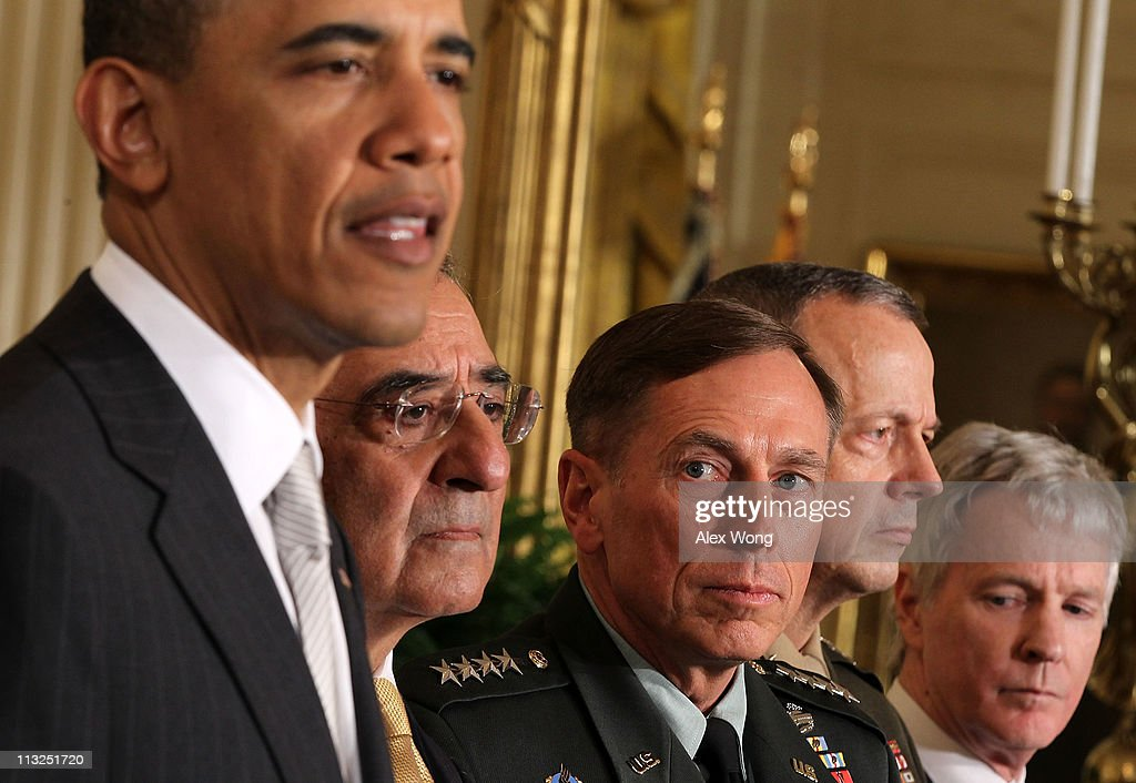 U.S. President <a gi-track='captionPersonalityLinkClicked' href=/galleries/search?phrase=Barack+Obama&family=editorial&specificpeople=203260 ng-click='$event.stopPropagation()'>Barack Obama</a> speaks as Leon Panetta, Army General <a gi-track='captionPersonalityLinkClicked' href=/galleries/search?phrase=David+Petraeus&family=editorial&specificpeople=175826 ng-click='$event.stopPropagation()'>David Petraeus</a>, Marine General John Allen, and Ambassador <a gi-track='captionPersonalityLinkClicked' href=/galleries/search?phrase=Ryan+Crocker&family=editorial&specificpeople=2094070 ng-click='$event.stopPropagation()'>Ryan Crocker</a>, listen during an event to announce national security personnel changes at the East Room of the White House April 28, 2011 in Washington, DC. Obama has tapped current CIA Director Leon Panetta to succeed Robert Gates as the next Secretary of Defense, General <a gi-track='captionPersonalityLinkClicked' href=/galleries/search?phrase=David+Petraeus&family=editorial&specificpeople=175826 ng-click='$event.stopPropagation()'>David Petraeus</a> to be the next CIA Director, <a gi-track='captionPersonalityLinkClicked' href=/galleries/search?phrase=Ryan+Crocker&family=editorial&specificpeople=2094070 ng-click='$event.stopPropagation()'>Ryan Crocker</a> to be the next U.S. ambassador to Afghanistan, and General John Allen to succeed Petraeus as commander for ISAF and commander for U.S. forces in Afghanistan.