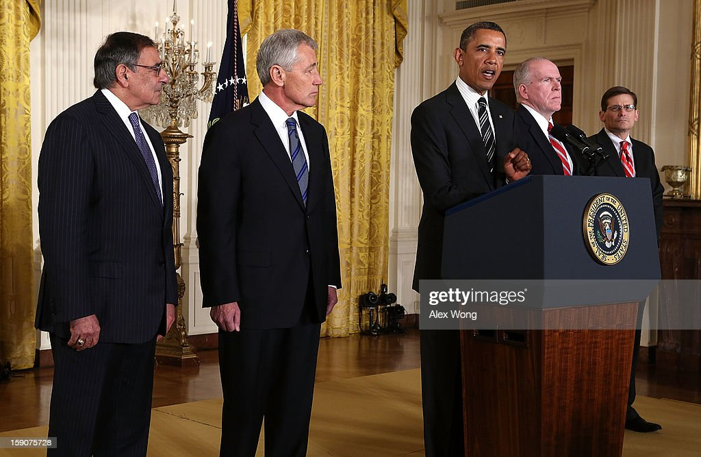 U.S. President Barack Obama (3rd L) speaks as Secretary of Defense Leon Panetta (L), former U.S. Sen. Chuck Hagel (R-NE) (2nd L), Acting CIA Director Michael Morell (R) and Deputy National Security Advisor for Homeland Security and Counterterrorism John Brennan (4th L) listen while making personnel announcements during an event in the East Room at the White House, on January 7, 2013 in Washington, DC. President Obama has nominated Hagel for the next Secretary of Defense and Brennan to become the new director of the CIA.