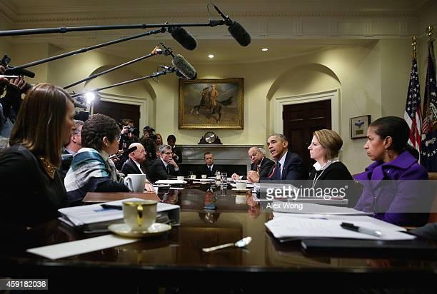 S President Barack Obama speaks as Secretary of Homeland Security Jeh Johnson White House Homeland Security Adviser Lisa Monaco National Security...