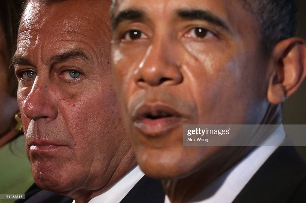U.S. President Barack Obama (R) speaks as Speaker of the House Rep. John Boehner (R-OH) (L) looks on during a meeting in the Cabinet Room of the White House January 13, 2015 in Washington, DC. President Obama met with congressional leaders to discuss issues including the economy and the nationals security.
