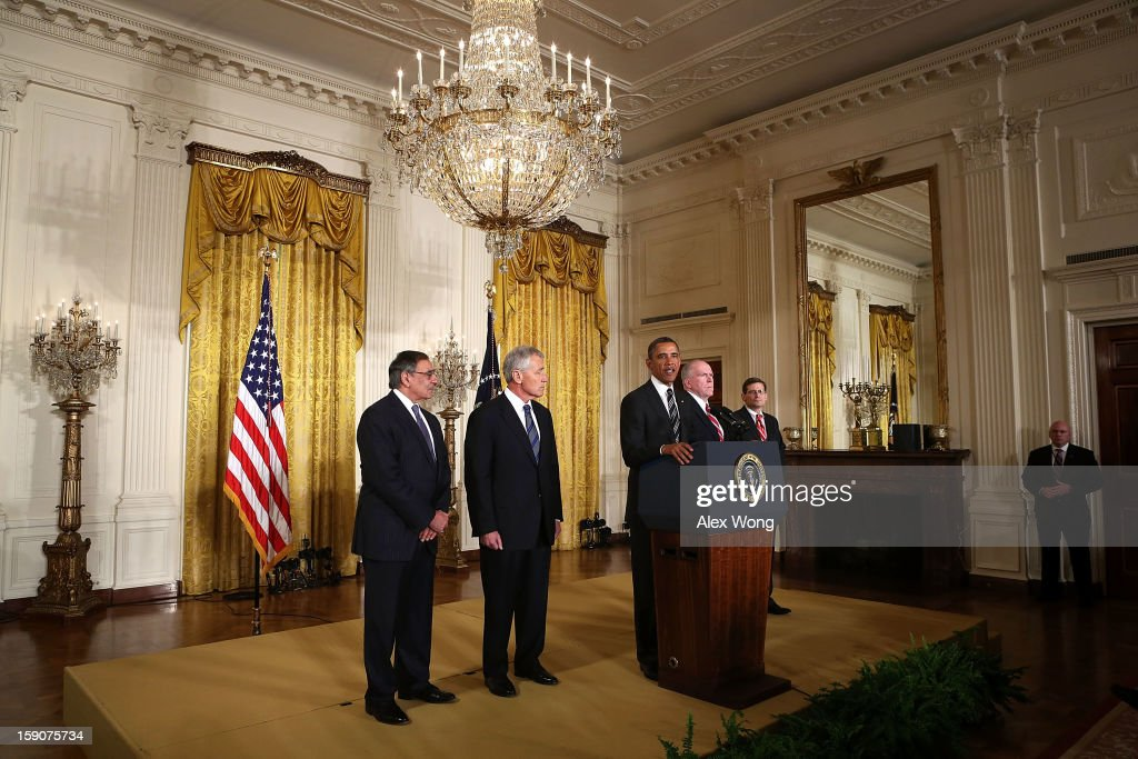 U.S. President Barack Obama (3rd L) speaks as U.S. Secretary of Defense Leon Panetta (L), former U.S. Sen. Chuck Hagel (R-NE) (2nd L), Acting CIA Director Michael Morell (R) and Deputy National Security Advisor for Homeland Security and Counterterrorism John Brennan (4th L) listen while making personnel announcements during an event in the East Room at the White House, on January 7, 2013 in Washington, DC. President Obama has nominated Hagel for the next Secretary of Defense and Brennan to become the new director of the CIA.