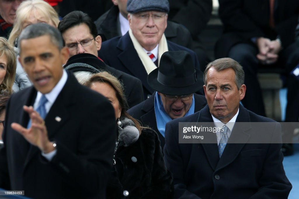 U.S. President Barack Obama speaks as U.S. Speaker of the House Rep. John Boehner looks on during the presidential inauguration on the West Front of the U.S. Capitol January 21, 2013 in Washington, DC. Barack Obama was re-elected for a second term as President of the United States.