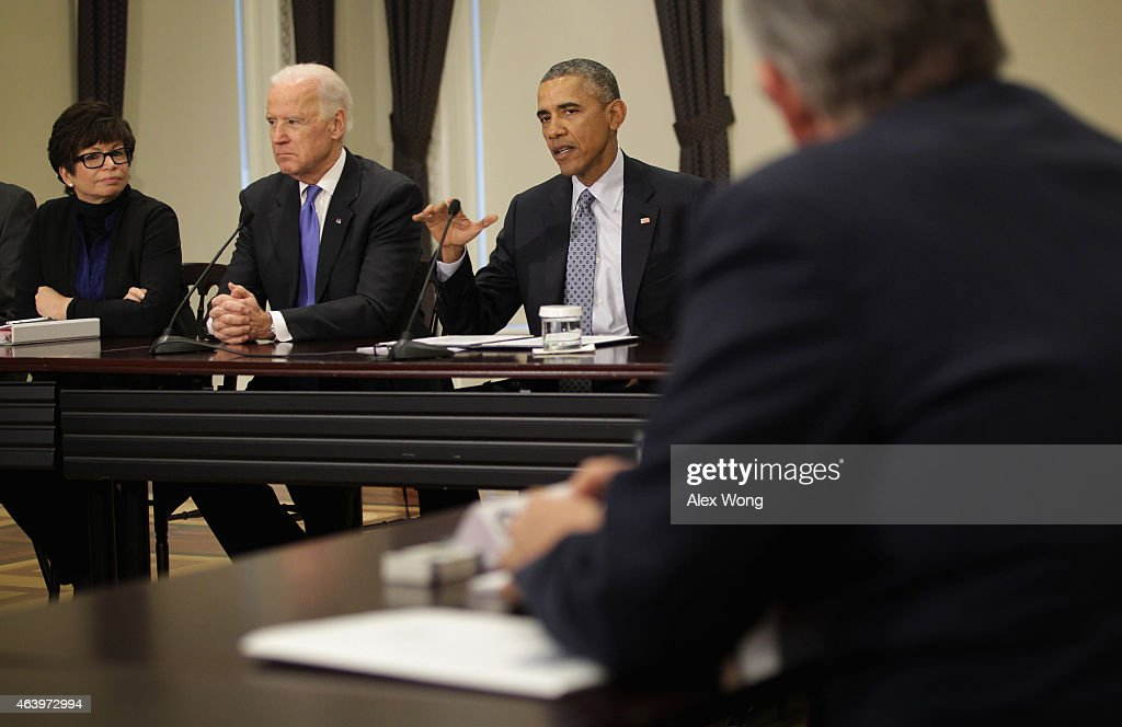 US President Barack Obama speaks as Vice President Joseph Biden and White House senior adviser Valerie Jarrett listen during a Democratic Governors...