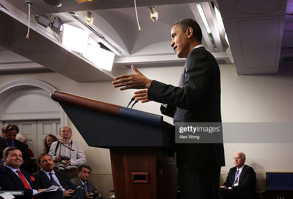 U.S. President <a gi-track='captionPersonalityLinkClicked' href=/galleries/search?phrase=Barack+Obama&family=editorial&specificpeople=203260 ng-click='$event.stopPropagation()'>Barack Obama</a> (L) speaks as Vice President <a gi-track='captionPersonalityLinkClicked' href=/galleries/search?phrase=Joseph+Biden&family=editorial&specificpeople=206897 ng-click='$event.stopPropagation()'>Joseph Biden</a> (R) listens during an announcement on gun reform in the Brady Press Briefing Room of the White House December 19, 2012 in Washington, DC. President Obama announced that he is making an administration-wide effort to solve gun violence and has tapped Vice President Biden to lead the effort in the wake of the Sandy Hook Elementary School shooting in Newtown, Connecticut.