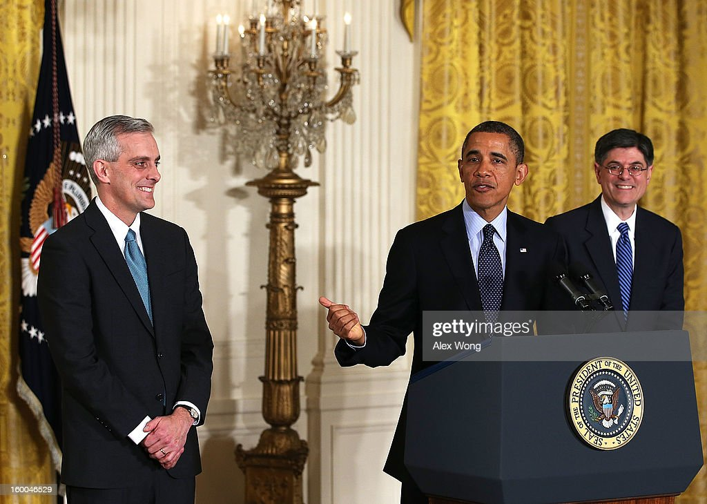 U.S. President <a gi-track='captionPersonalityLinkClicked' href=/galleries/search?phrase=Barack+Obama&family=editorial&specificpeople=203260 ng-click='$event.stopPropagation()'>Barack Obama</a> (C) speaks as White House Chief of Staff <a gi-track='captionPersonalityLinkClicked' href=/galleries/search?phrase=Jack+Lew&family=editorial&specificpeople=2745013 ng-click='$event.stopPropagation()'>Jack Lew</a> (R) and Deputy National Security Adviser Denis McDonough (L) listen during a personnel announcement at the East Room of the White House January 25, 2013 in Washington, DC. President Obama has appointed McDonough to be the new White House chief of staff.