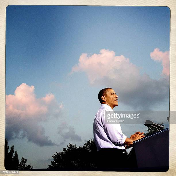 US President Barack Obama speaks at a campaign event at Loudoun County High School in Leesburg Virginia