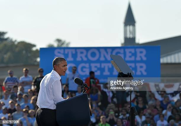 S President Barack Obama speaks at a campaign event for Democratic presidential nominee Hillary Clinton on the campus of the University of Chapel...