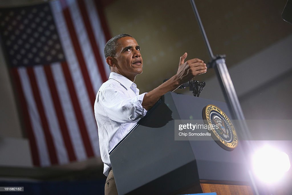 U.S. President <a gi-track='captionPersonalityLinkClicked' href=/galleries/search?phrase=Barack+Obama&family=editorial&specificpeople=203260 ng-click='$event.stopPropagation()'>Barack Obama</a> speaks at a campaign rally at the Kissimmee Civic Center September 8, 2012 in Kissimmee, Florida. Working with the momentum from this week's Democratic National Convention, Obama is on a two-day campaign swing from one side of Florida to the other on the politically important I-4 corridor.