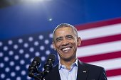 US President Barack Obama speaks at a campaign rally for Democratic Governor Dan Malloy who is up for reelection at Central High School in Bridgeport...