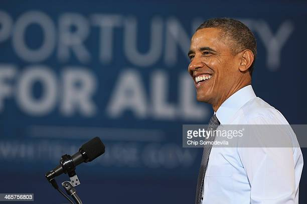 S President Barack Obama speaks at a Costco wholesale store repeating the same policy proposals from his State of the Union speech January 29 2014 in...
