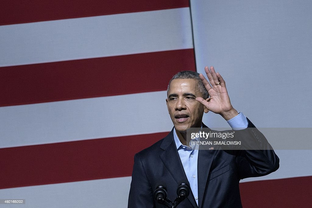 US President Barack Obama speaks at a Democratic National Committee event at the Warfield Theater on October 10 2015 in San Francisco California...