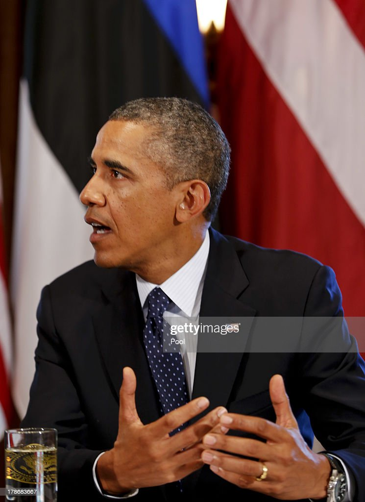 US President <a gi-track='captionPersonalityLinkClicked' href=/galleries/search?phrase=Barack+Obama&family=editorial&specificpeople=203260 ng-click='$event.stopPropagation()'>Barack Obama</a> speaks at a meeting with President Toomas Hendrik Ilves of Estonia, President Dalia Grybauskaite of Lithuania, and President Andris Berzins of Latvia in the Cabinet Room of the White House August 30, 2013 in Washington, DC. A joint meeting was to be held that will highlight the transformations the Baltic States have undergone since restoring their independence two decades ago. President Obama spoke with the media about the ongoing situation in Syria.