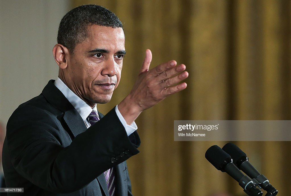 U.S. President <a gi-track='captionPersonalityLinkClicked' href=/galleries/search?phrase=Barack+Obama&family=editorial&specificpeople=203260 ng-click='$event.stopPropagation()'>Barack Obama</a> speaks at a presentation ceremony for the Medal of Honor for Clinton Romesha (L), a former active duty Army Staff Sergeant, at the White House February 11, 2013 in Washington, DC. Romesha received the Medal of Honor for actions during combat operations against an armed enemy at Combat Outpost Keating, Kamdesh District, Nuristan Province, Afghanistan on October 3, 2009.