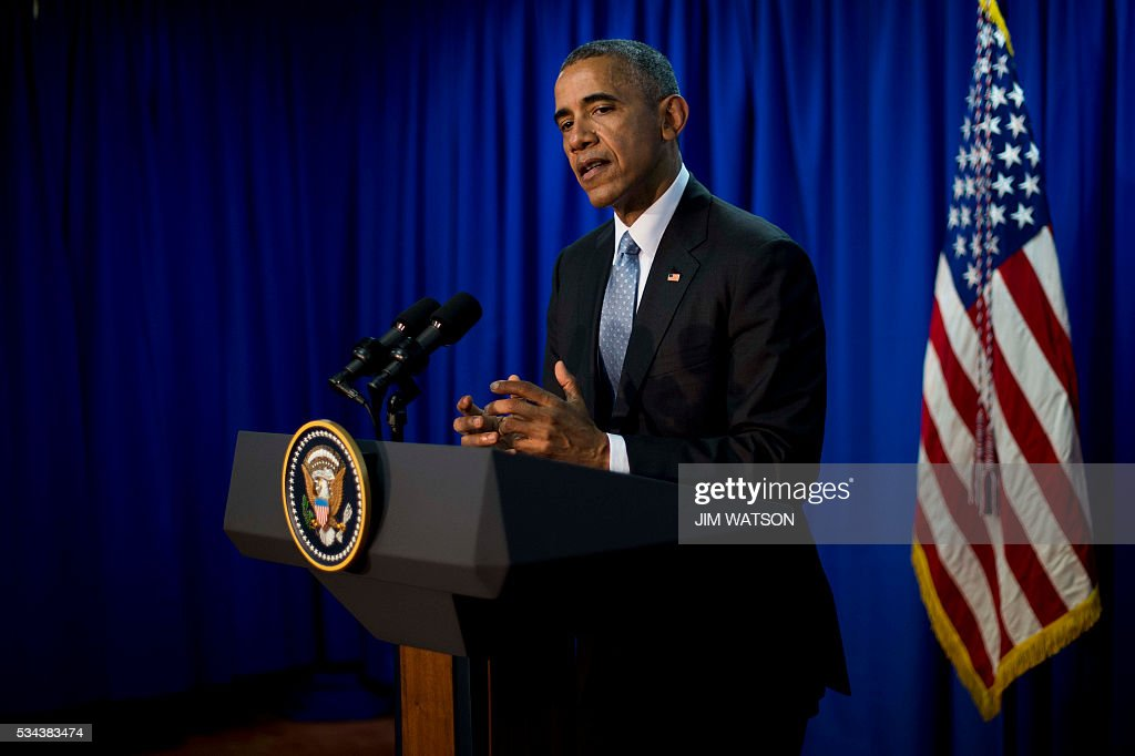 US President Barack Obama speaks at a press conference during the first day of the Group of Seven (G7) summit meetings in Ise Shima on May 26, 2016. World leaders kicked off two days of G7 talks in Japan on May 26 with the creaky global economy, terrorism, refugees, China's controversial maritime claims, and a possible Brexit headlining their packed agenda. / AFP / JIM