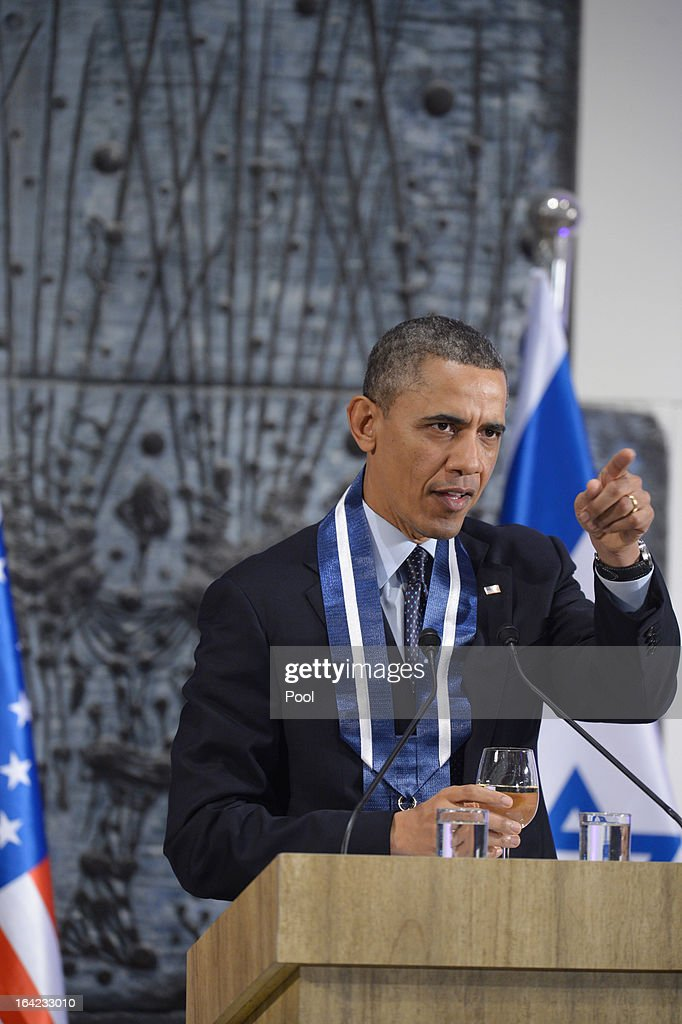 U.S. President <a gi-track='captionPersonalityLinkClicked' href=/galleries/search?phrase=Barack+Obama&family=editorial&specificpeople=203260 ng-click='$event.stopPropagation()'>Barack Obama</a> speaks at a state dinner held in his honor at Peres' official residence March 21, 2013 in Jerusalem, Israel. This is Obama's first visit as president to the region and his itinerary includes meetings with the Palestinian and Israeli leaders as well as a visit to the Church of the Nativity in Bethlehem.