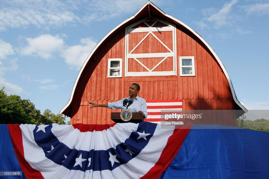 President <a gi-track='captionPersonalityLinkClicked' href=/galleries/search?phrase=Barack+Obama&family=editorial&specificpeople=203260 ng-click='$event.stopPropagation()'>Barack Obama</a> speaks at a town hall style meeting at the Seed Savers Exchange on August 15, 2011 in Decorah, Iowa. Obama is on a three-day bus tour of Minnesota, Iowa and Illinois where he is scheduled to speak with people about economic issues.