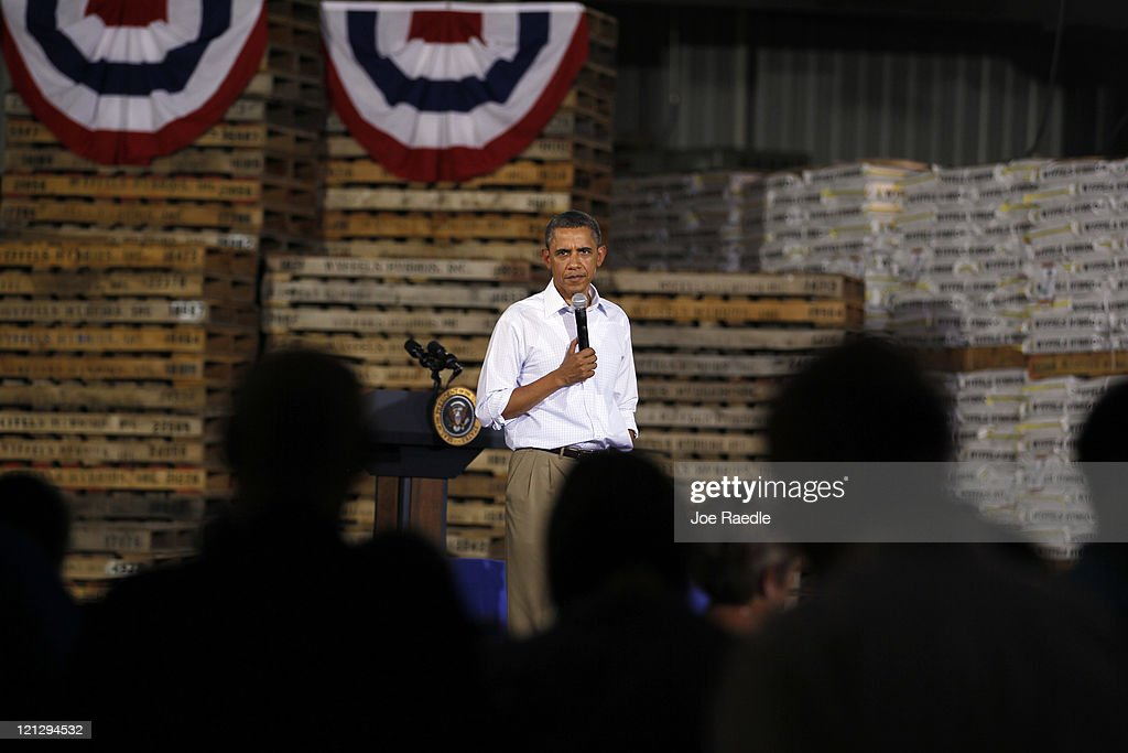 President <a gi-track='captionPersonalityLinkClicked' href=/galleries/search?phrase=Barack+Obama&family=editorial&specificpeople=203260 ng-click='$event.stopPropagation()'>Barack Obama</a> speaks at a town hall-style meeting at Wyffels Hybrids Inc. on August 17, 2011 in Atkinson, Illinois. President Obama is on the last day of a three-day bus tour of Minnesota, Iowa and Illinois during which he will discuss ways to improve the economy and create jobs, and hear directly from Americans.