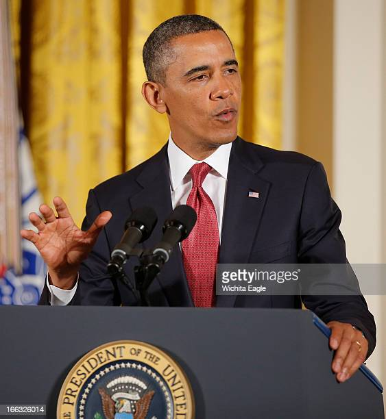 President Barack Obama speaks at a White House ceremony in Washington DC on Thursday April 11 before presenting the Medal of Honor to Ray Kapaun...