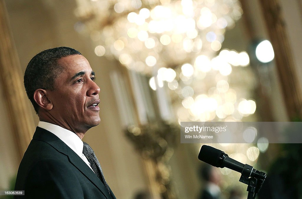 U.S. President <a gi-track='captionPersonalityLinkClicked' href=/galleries/search?phrase=Barack+Obama&family=editorial&specificpeople=203260 ng-click='$event.stopPropagation()'>Barack Obama</a> speaks at an event announcing the nominations of Sylvia Mathews Burwell, the President of the Walmart Foundation, as his budget chief, Gina McCarthy, to head the Environmental Protection Agency and MIT professor Ernest Moniz as Energy Secretary, during a ceremony in the East Room of the White House March 4, 2013 in Washington, DC. The nominations will be key appointments for Obama's second term while focusing on the issues of the national budget as well as energy and climate issues.