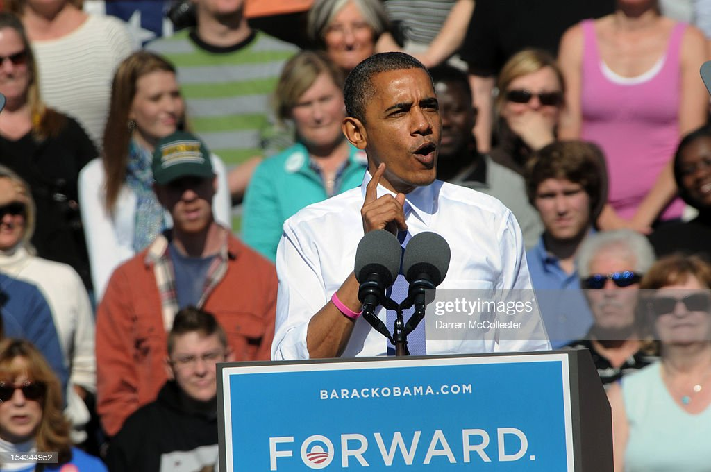 President Barack Obama speaks at an event at Veteran's Memorial Park October 18, 2012 in Manchester, New Hampshire. President Obama continues to campaign in swing states with just under three weeks left till Election Day.
