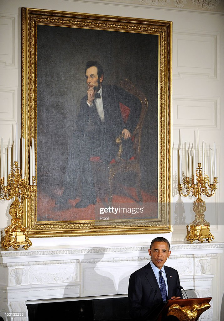 U.S. President <a gi-track='captionPersonalityLinkClicked' href=/galleries/search?phrase=Barack+Obama&family=editorial&specificpeople=203260 ng-click='$event.stopPropagation()'>Barack Obama</a> speaks at an Iftar dinner celebrating Ramadan in the State Dining Room of the White House August 10, 2012 in Washington, DC. The invited guests include elected officials, religious and grassroots leaders in the Muslim American community, leaders of diverse faiths and members of the diplomatic corps .