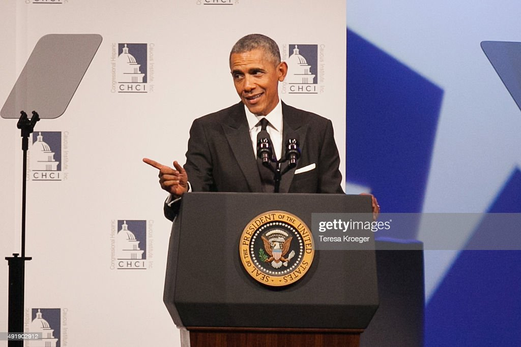 U.S. President Barack Obama speaks at CHCI's 38th Awards Gala at The Walter E. Washington Convention Center on October 8, 2015 in Washington, DC.