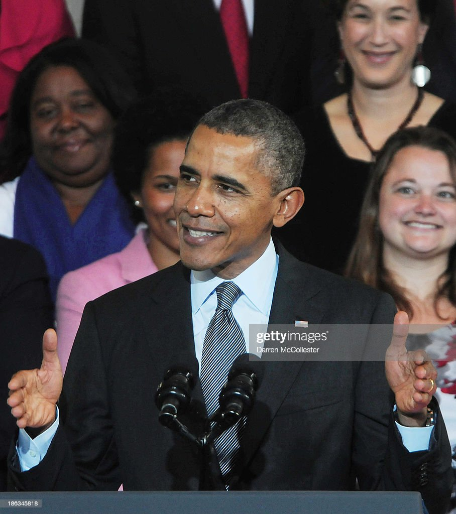 U.S. President <a gi-track='captionPersonalityLinkClicked' href=/galleries/search?phrase=Barack+Obama&family=editorial&specificpeople=203260 ng-click='$event.stopPropagation()'>Barack Obama</a> speaks at Faneuil Hall on the implementation of the Affordable Care Act October 30, 2013 in Boston, Massachusetts. The rollout of the law has been marred by glitches in the web site as well as some people having their health insurance cancelled.