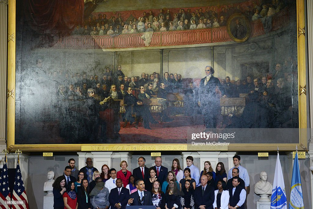 U.S. President <a gi-track='captionPersonalityLinkClicked' href=/galleries/search?phrase=Barack+Obama&family=editorial&specificpeople=203260 ng-click='$event.stopPropagation()'>Barack Obama</a> speaks at Faneuil Hall on the implementation of the Affordable Health Care Act October 30, 2013 in Boston, Massachusetts. The rollout of the law has been marred by glitches in the web site as well as some people having their health insurance cancelled.