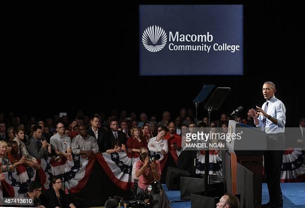 US President Barack Obama speaks at Macomb Community College in Warren Michigan on September 9 2015 AFP PHOTO/MANDEL NGAN