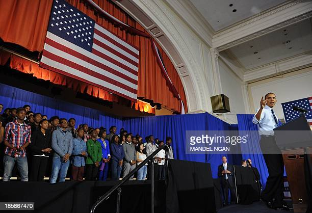 US President Barack Obama speaks at Pathways in Technology Early College High School in Brooklyn New York on October 25 2013 AFP PHOTO/Mandel NGAN