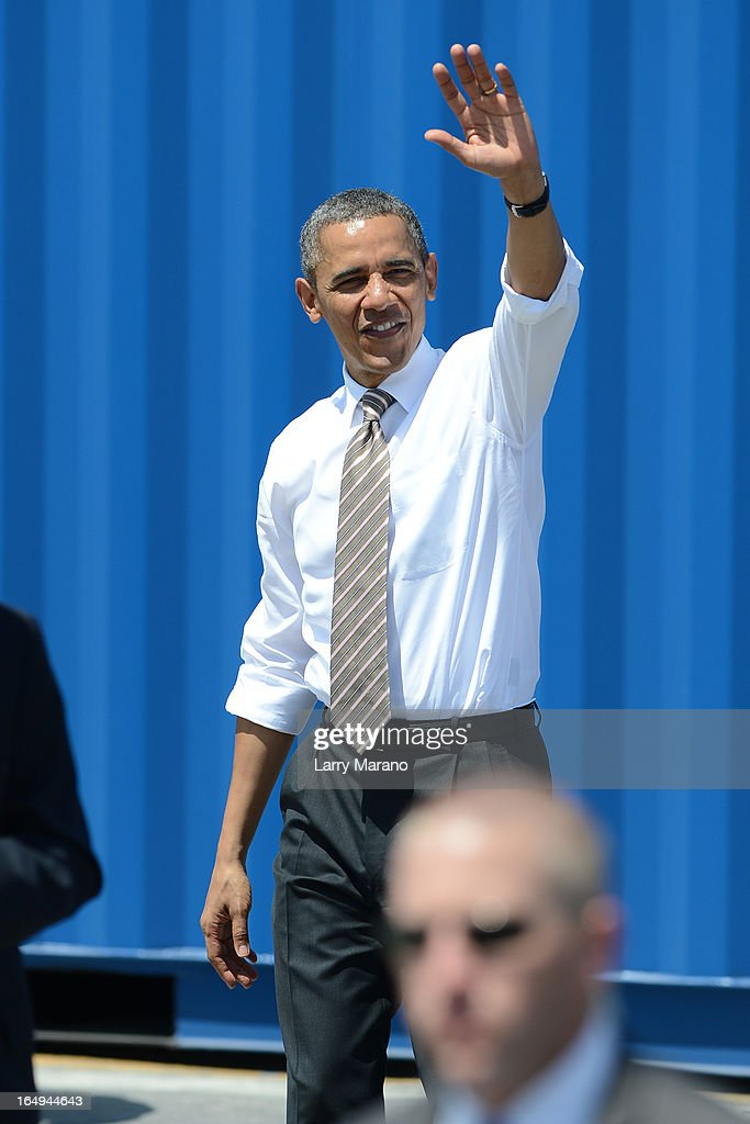 President Barack Obama speaks at Port of Miami on March 29, 2013 in Miami, Florida.