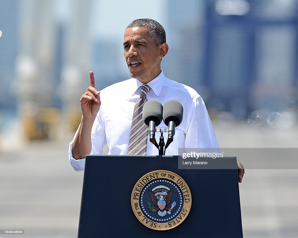 President <a gi-track='captionPersonalityLinkClicked' href=/galleries/search?phrase=Barack+Obama&family=editorial&specificpeople=203260 ng-click='$event.stopPropagation()'>Barack Obama</a> speaks at Port of Miami on March 29, 2013 in Miami, Florida.