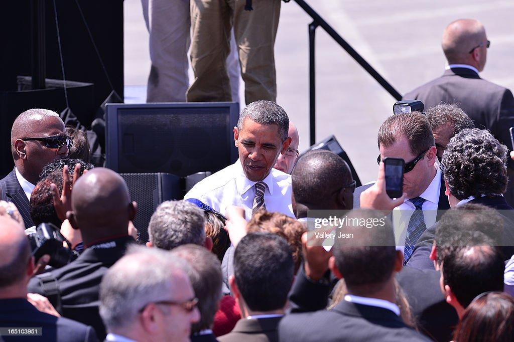 U.S. President Barack Obama speaks at Port of Miami on March 29, 2013 in Miami, Florida.