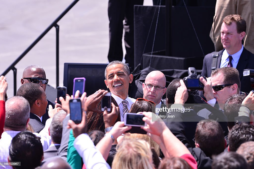 U.S. President <a gi-track='captionPersonalityLinkClicked' href=/galleries/search?phrase=Barack+Obama&family=editorial&specificpeople=203260 ng-click='$event.stopPropagation()'>Barack Obama</a> speaks at Port of Miami on March 29, 2013 in Miami, Florida.