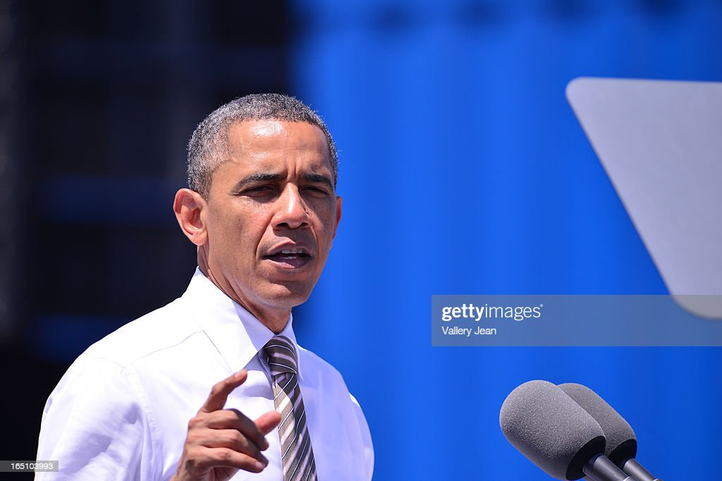 U.S. President Barack Obama speaks at Port of Miami on March 29, 2013 in Miami, Florida.