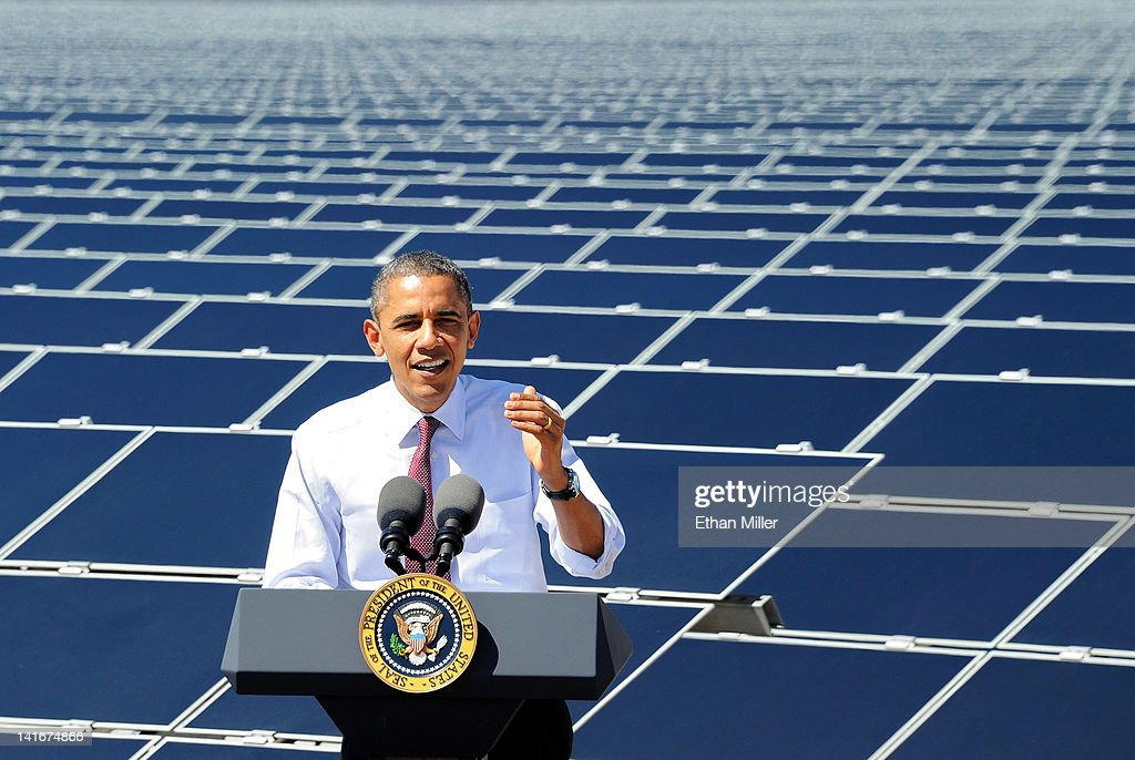 U.S. President <a gi-track='captionPersonalityLinkClicked' href=/galleries/search?phrase=Barack+Obama&family=editorial&specificpeople=203260 ng-click='$event.stopPropagation()'>Barack Obama</a> speaks at Sempra U.S. Gas & Power's Copper Mountain Solar 1 facility, the largest photovoltaic solar plant in the United States on March 21, 2012 in Boulder City, Nevada. Obama is on a four-state tour promoting his energy policies. The Copper Mountain solar facility is the largest operating photovoltaic plant operating in the country.